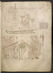 Drawings Of Chastity Dedicating Her Sword At A temple, And Long-Suffering Standing Unmoved Amidst A Battle, In Prudentius's 'Conflict Of The Soul'